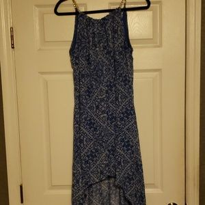 Blue printed dress with gold straps
